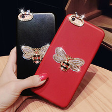 Diamond Soft PU Leather 3D Gold Bee Phone Case For iPhone 7 7 Plus 6 6S Plus Case Bling Rhinestone Back Cover