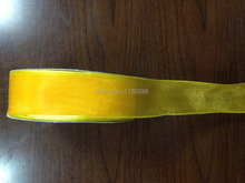 "38mm(1.5"") Fancy Yellow Organza Christmas Xmas wired edge ribbon 25yards roll Free Shipping(China)"