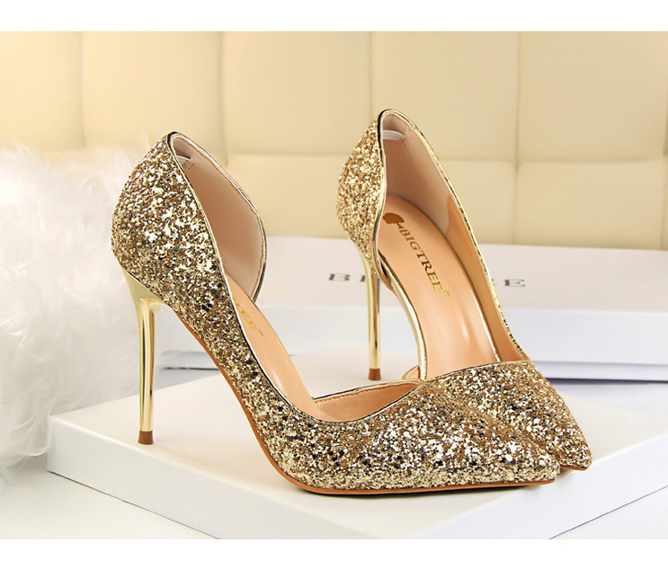Women Pumps Sexy Glisten Women Shoes Wedding Party Dress Heels Women Hollow Shallow Mouth High Heels Stiletto 868-8 5