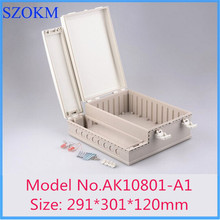 (2 pcs) szomk high quality abs IP68 waterproof electronics enclosure 291*301*120mm plastic hinge box electronic control box