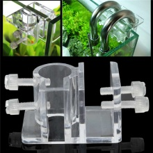 2pcs Acrylic Plastic Aquarium Hose Tube Fixing Clip Clamps Holder Glass Fish Tank Filter Filtration Mount water pipe Hanger(China)