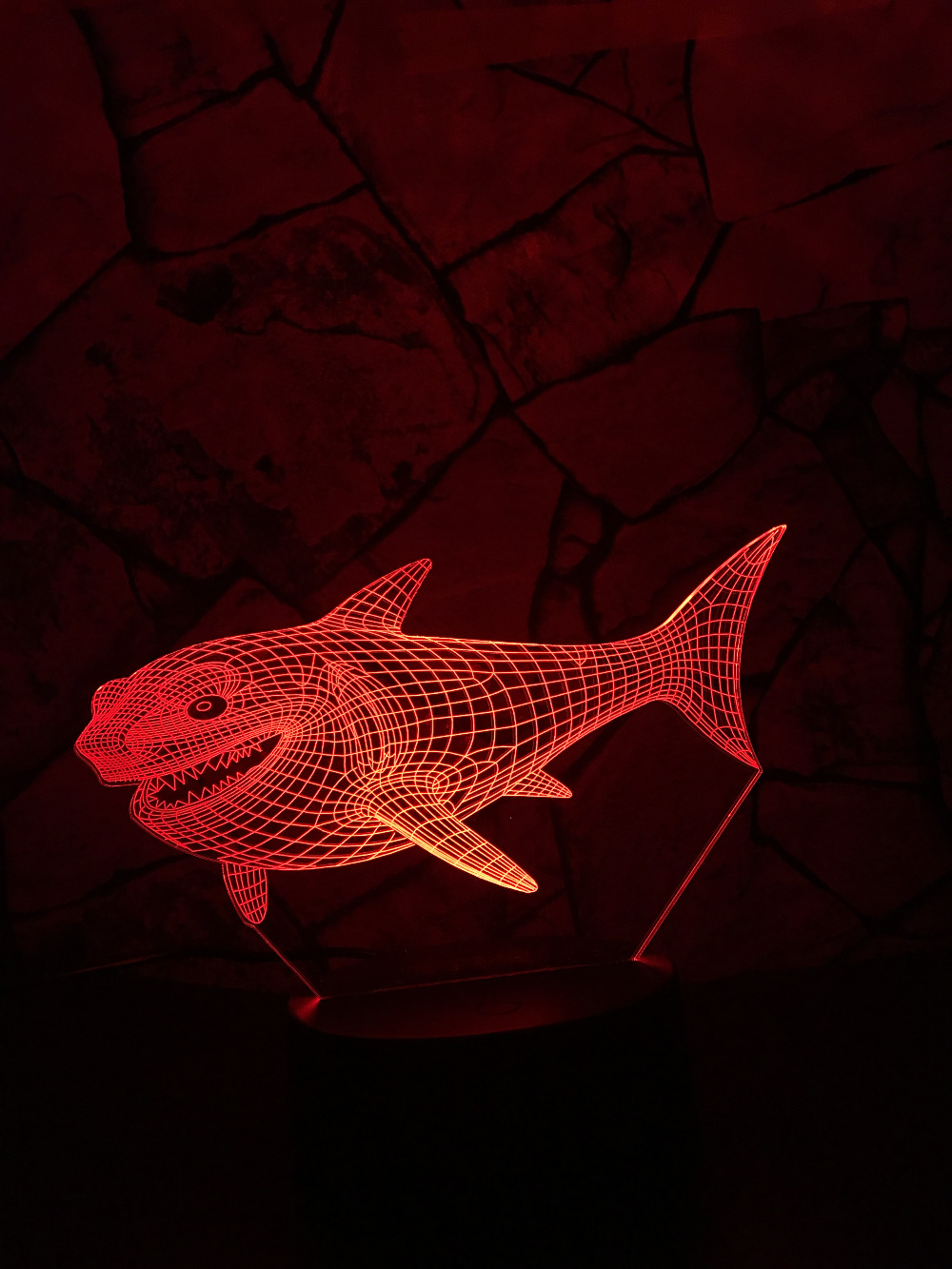 """Glow Shark"" 3D Optical Illusion Glowing Shark Table Lamp 3"