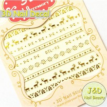 Free Shipping 24pcs 3D Christmas Snowflake Nail Art Sticker Golden Reindeer Nail Decal Silvery Sweater Manicure Decoration N93
