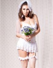 Women Porn Lace Bridal Lingerie Transparent Sexy Sleepwear White Wedding Lingerie Sexy Cosplay Bridal Uniform