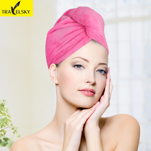 Travel  Accessories Women  Water Wipe Thickening Shower Cap Travel Portable Long Fast Dry Hair Towel 1pcs Free Shipping