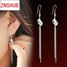 Hot new fashion elegant women silver earrings long tassel earrings OL snake chain pendant jewelry wholesale manufacturers