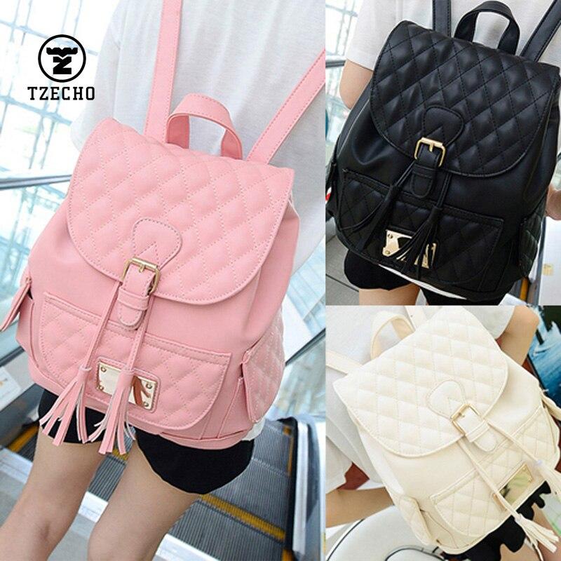 Hot Sale School Bag For Teenagers Tassel PU Leather Women Backpack Famous Shoulder Bags Rhombus Belt Schoolbags College Wind<br><br>Aliexpress