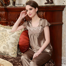 Free shipping costume adult pyjamas good quality silk sleepwear sexy embroidery lace neck ladies pijama sets brown color(China)