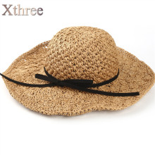 Xthree two size handmade Weave straw women summer hat kids panamas Vintage Sinamay Fascinator hat for girl(China)