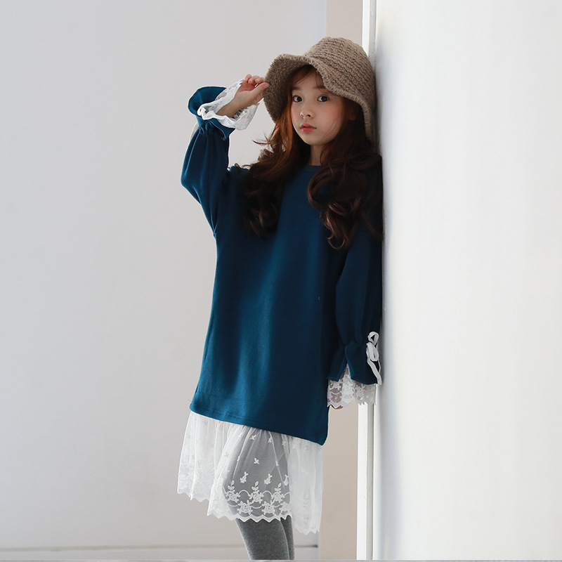 Girls Casual Lace Patchwork Full Dress 2017 New Autumn Winter O neck Long Sleeve Velet Blue Straight Loose Dresses For Kids<br>