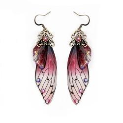 Женские серьги-крылья с кристаллом