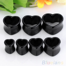1 Pair Punk Acrylic Hollow Heart Double Flare Ear Tunnels Gauges Plugs Earlets Jewelry 01F6