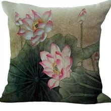 Factory Supply China Wind Hand Painted Lotus Linen Sofa Pillow Car Soft Outfit Cushion Decorative Pillow Free Shipping