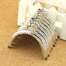8.5cm Vintage Crystal Headed Silver Metal Purse Frame Metal Purse Coin Frames Clasp Clutch Purse Frame,14Pcs/Lot
