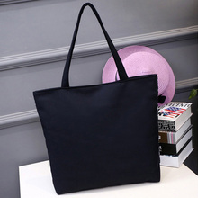 Wholesale Blank Women's Casual Tote bag Durable Canvas Shoulder Bag Plain White Black Color Cheap Shopping Bag Handbags(China)