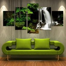 5 Pieces Frameless Canvas Photo Prints Waterfall Woods Stone Wall Art Picture Canvas Paintings Home Decor Wall Artwork Paintings