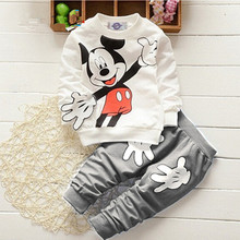 Fashion baby boys and girls cartoon casual sportswear two - piece suit children 's sweater pants suit