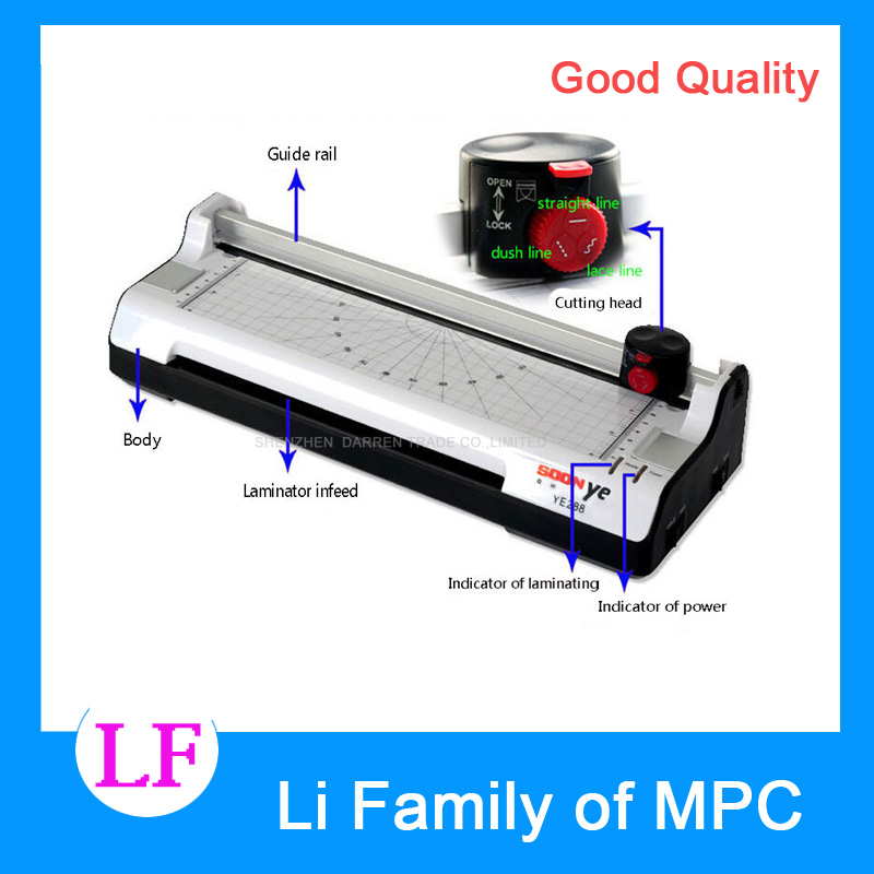 YE288 Smart Photo Laminator A4 Laminating Machine Laminator Sealed Plastic Machine Hot And Cold Laminator Photo Cutter<br>
