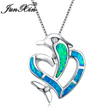 JUNXIN 925 Sterling Silver Filled Best Valentine's Day Gift Blue Fire Opal Dolphin & Heart Crossed Pendant Necklaces For Women(China)