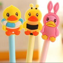3pcs Cute Small Duck Neutral Animal Cartoon Gel Pen Black Ink 0.38mm Kawaii School Supplies Office Stationery Papeleria(China)