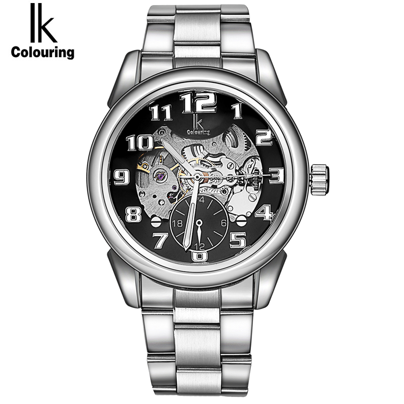 2017 Hot Sale Luxury Luminous Automatic Mechanical Skeleton Dial Stainless Steel Band Wrist Watch Men Women Best Christmas Gift<br>
