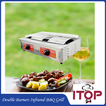 Gas BBQ Grill Infrared Stainless Steel Barbecue Oven Stove Smokeless Flat For Kebab Indoor and Outdoor