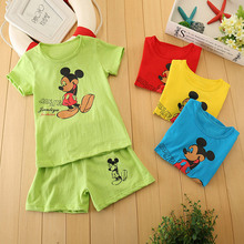 15 Colors Boys and Girls Cartoon Roles Printed Summer 2 Pcs Clothes Set Hello Kitty/Mickey Shirt+Short Pants Children Outerwear
