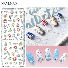1 sheet NailMAD Vintage Anchors Nail Water Decals Ocean Fishes Transfer Stickers Nail Art Tattoo Sticker DS216