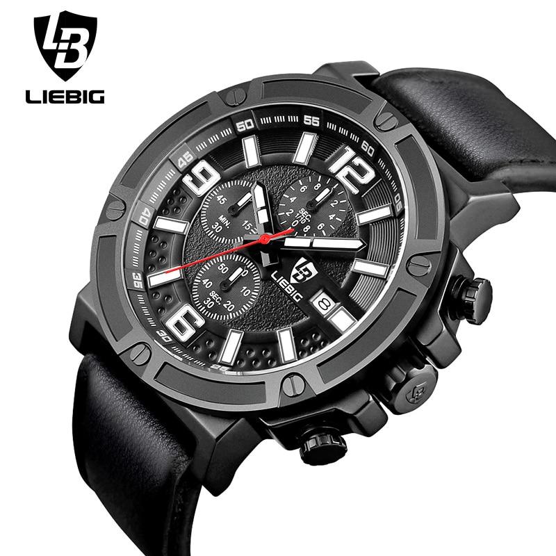 LIEBIG 1013 Men Quartz Wristwatches Luxury Calendar Sports Multi-dial Watch Leather Strap 50M Waterproof Relogio Masculino<br><br>Aliexpress