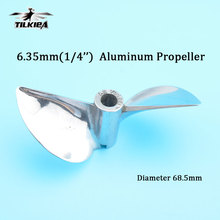 "Rc Boat Screw Diameter 68.5mm Prop 2 Blades Aluminum Propeller For 6.35mm 1/4"" Prop Shaft Rc Boat Gas"