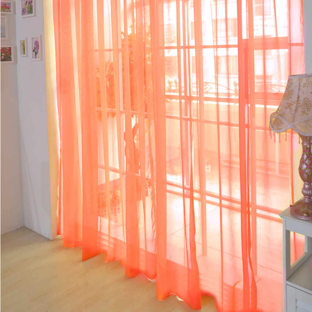 orange Curtain Pure Color Tulle Door Window Curtain Drape Panel Sheer Scarf Valances Modern bedroom Living Room Curtains
