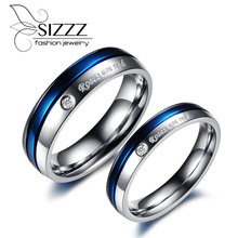 SIZZZ 4mm Wide For Women/6mm Wide For Men engraved rhinestones stainless steel students couple ring(China)