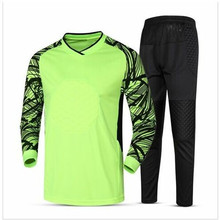 2017 new soccer goalkeeper jersey set men's sponge football long sleeve goal keeper uniforms goalie sport training suit