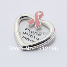 PBR012(10), 4*2cm Enamel Pink Ribbon Lapel Pins Badge Brooch Pin For Women Breast Cancer Awareness Photo Frame(China)