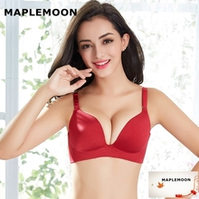 Pearl wine red new One piece wire free push up gathered thin bra received deputy breast Dropshipping  girl Bra & Brief Sets