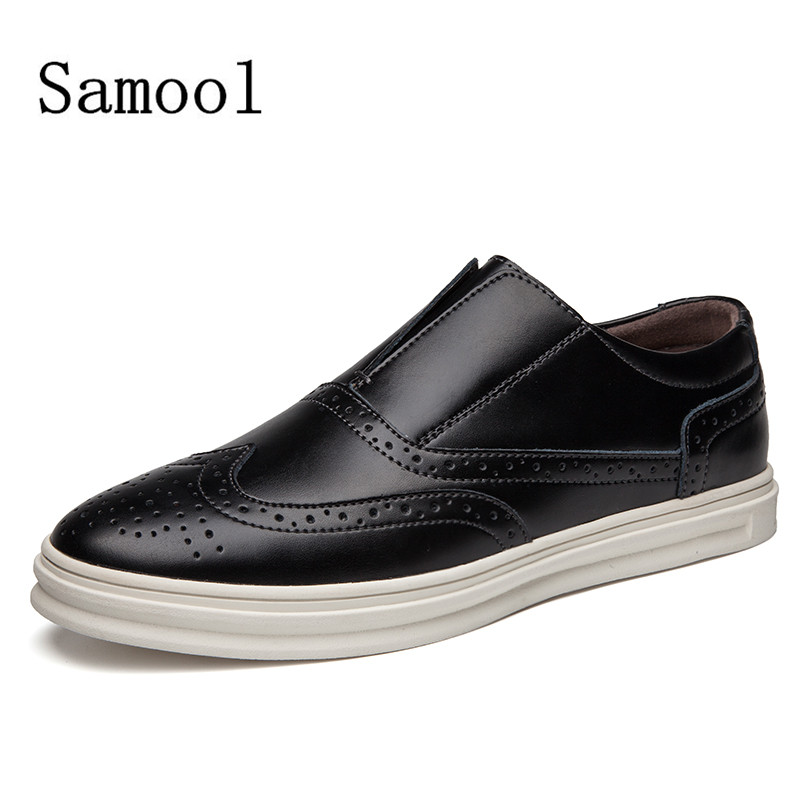 SAMOOL 2017 Fashion Men Casual Shoe Slip On Leather Flats Shoes Loafers For Men Black Color Casual Shoes<br>