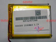 best battery brand 3.7V,2500mAH 904568 polymer lithium ion / Li-ion battery for model aircraft,GPS,mp3,mp4,cell phone,speaker,bl