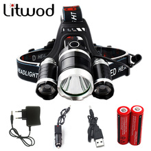 Litwod z30 LED Headlight chip 3XM-L T6 LED Head Lamp 4 Model Led Headlamp portable light for camping hunting with Accessories