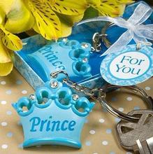 Set of 12 Blue Baby Boy Girl Princess Imperial Crown Keychain Key Ring Keychain Gift Box Ribbon Baby Shower Wedding Gift Favor