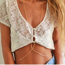 Fashion crystal rhinestone body chain necklace gold color body chain jewelry for women girls X192