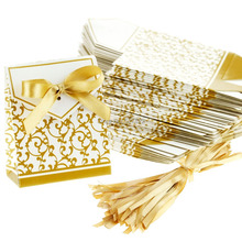 Wholesale 100pcs Gold Newest Wedding Favour Box Party Candy Box Favor Gift Boxes With Ribbon Wedding Decoration Free Shipping