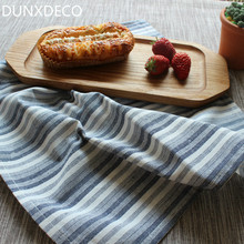 DUNXDECO 40x60CM Modern Linen Cotton Little Stripe Table Placemat Bar Coffe Store Home Table Mats Store Decoration Photo Prop