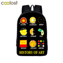 History of Art School Bags for Girls Boys Emoji Backpack Women Laptop mochila Van gogh Children Schoolbag Aliens Teen Book Bag(China)