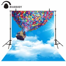 Allenjoy photography backdrop Blue sky cartoon cloud circle flying house balloon background original design for photo studio(China)