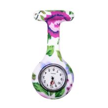Green leaves large flower pattern Silicone Nurses Brooch Tunic Fob Pocket Watch Stainless Dial