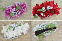 New  FREE SHIPPING+KL36162  40pcs/lot   15CM LX10CM W  6 COLORS MIXED 10pcs Felt  tuberose  larger hair clip  HAWAII PARTY