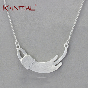 Kinitial 1Pcs 2017 New Necklace Women Luxury Fashion 925 Silver Jewelry Cat Pendants Necklaces Mother Day Gift Drop Shipping