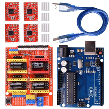 CNC Shield Expansion Board V3.0 +UNO R3 Board + A4988 Stepper Motor Driver With Heatsink for Arduino Kits