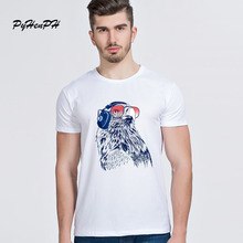New Arrival DJ Eagle Print Mens T-shirts Summer Short Sleeve Slim Tshirt Homme High Quality Men Tops Hipster O-neck Tees(China)