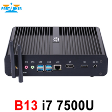 Partaker B13 Mini PC with 7th Gen Kaby Lake Intel Core i7 7500U Winows 10 Linux Ubuntu Barebone Fanless Mini PC 4K HTPC Computer